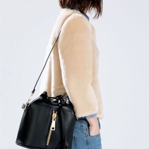 ZARA black bucket bag with crossbody strap